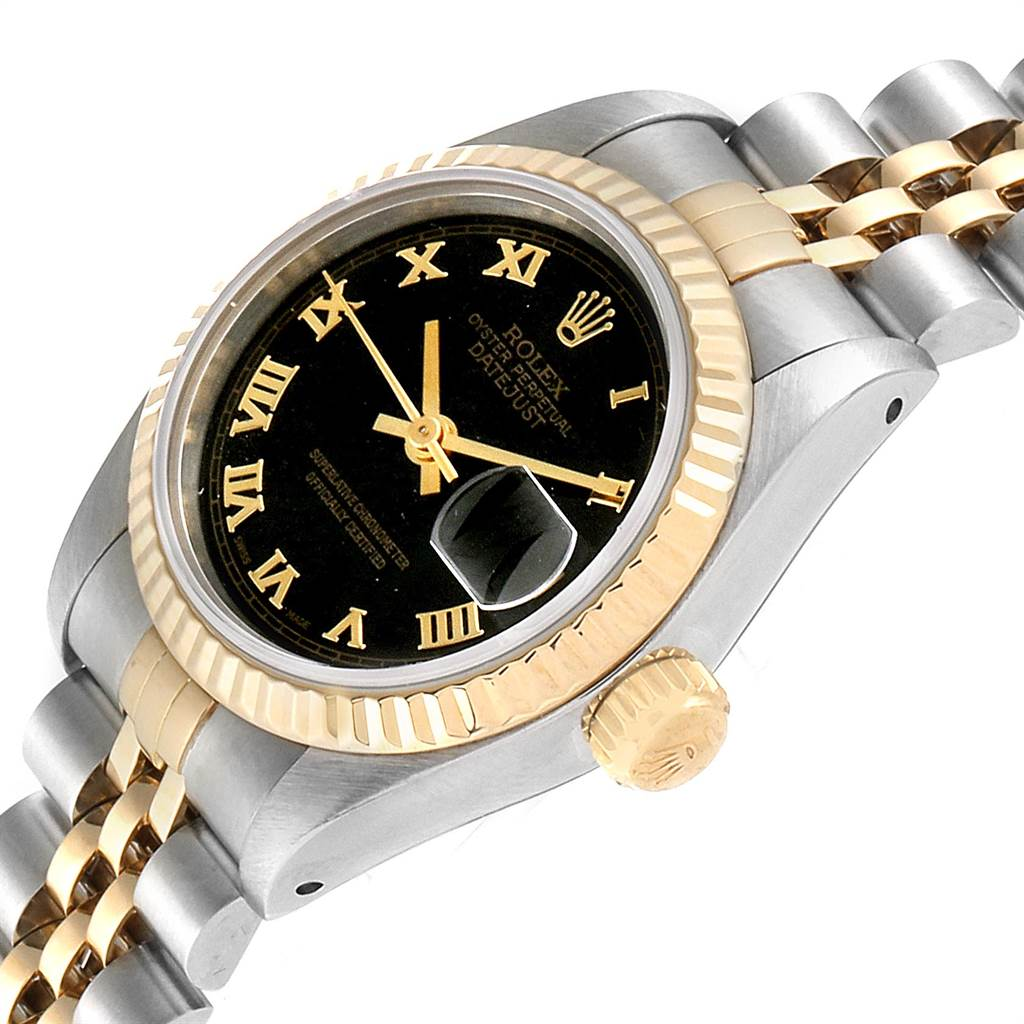 Rolex Datejust 26 Steel Yellow Gold Black Pyramid Dial Ladies Watch 69173 SwissWatchExpo