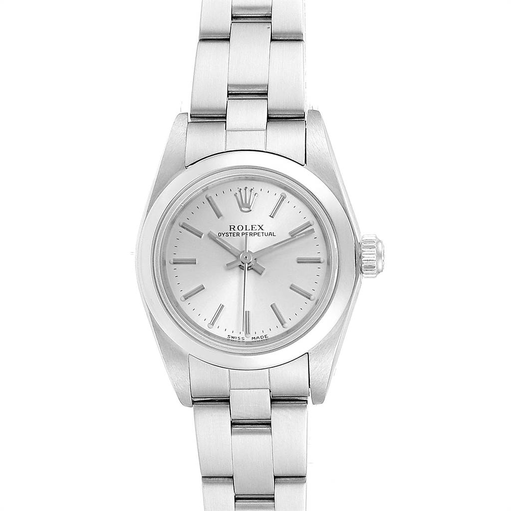23772 Rolex Oyster Perpetual 24 Nondate Silver Dial Ladies Watch 76080 Papers SwissWatchExpo