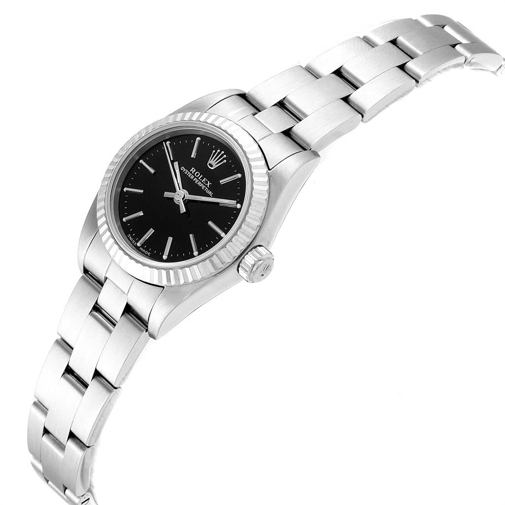 27770 Rolex Oyster Perpetual Steel White Gold Ladies Watch 76094 Box Papers SwissWatchExpo