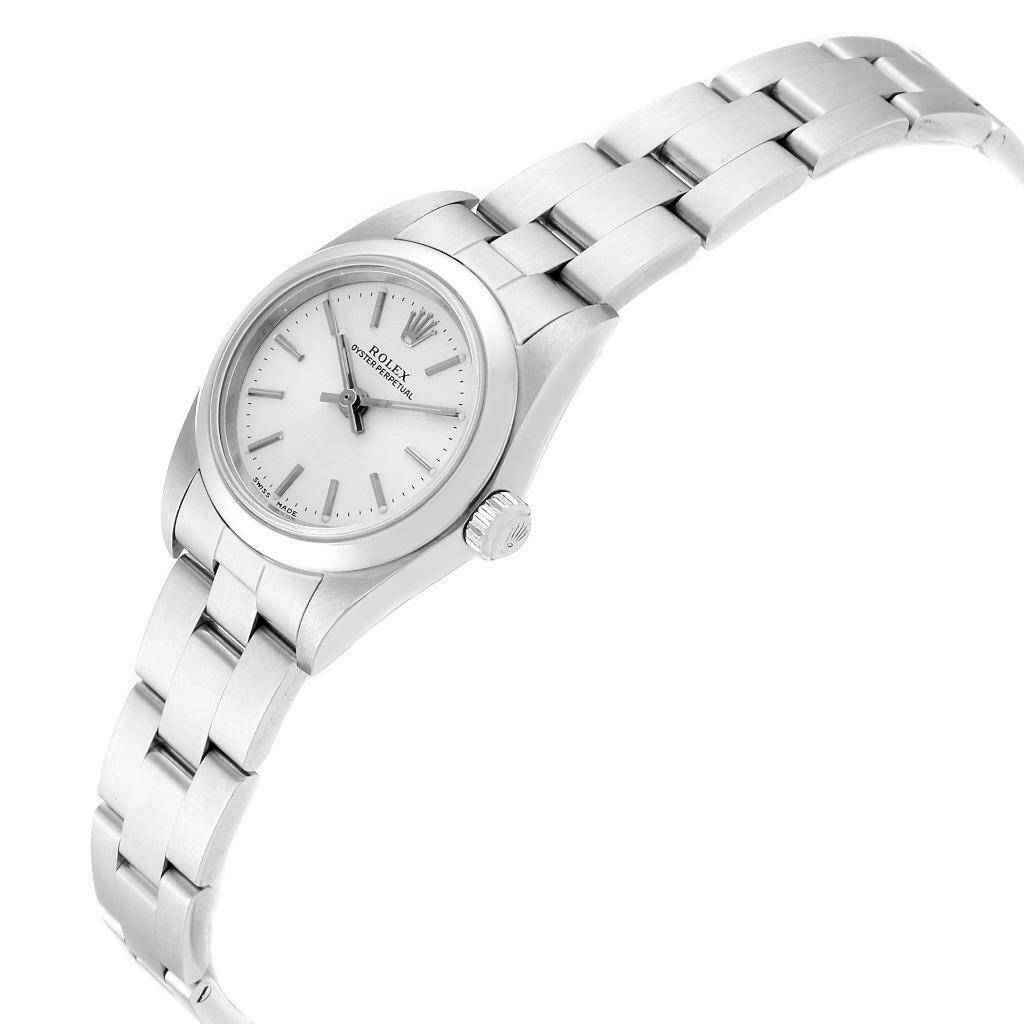 23371X Rolex Oyster Perpetual 24 Nondate Silver Dial Ladies Watch 76080 Papers SwissWatchExpo