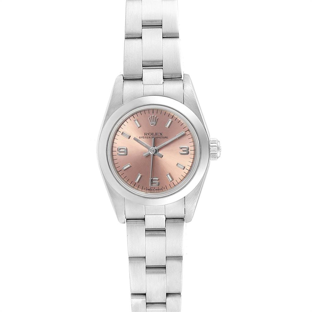 Rolex Oyster Perpetual 24 Nondate Salmon Dial Ladies Watch 76080 SwissWatchExpo