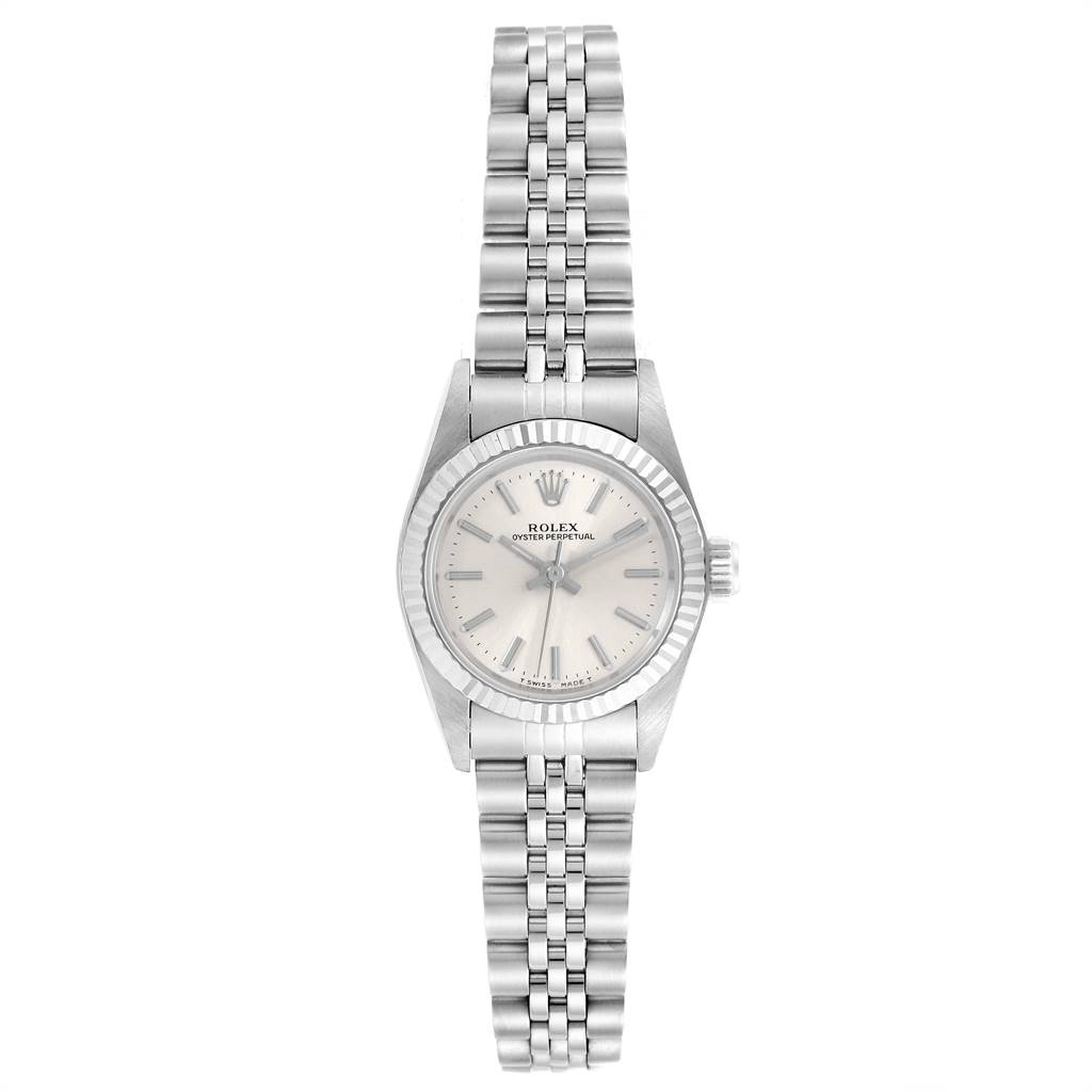 23969 Rolex Non-Date Steel 18k White Gold Silver Dial Ladies Watch 67194 SwissWatchExpo