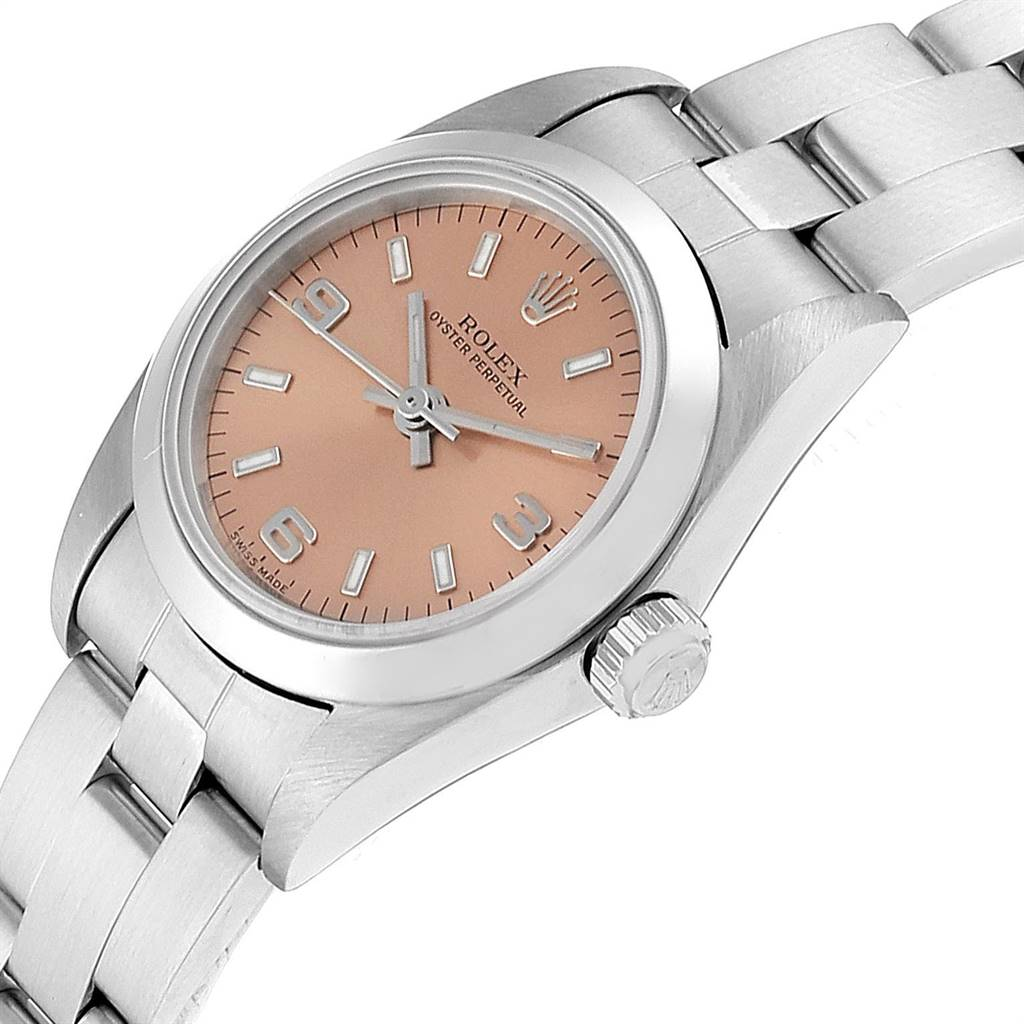 23486 Rolex Oyster Perpetual 24 Nondate Salmon Dial Ladies Watch 76080 SwissWatchExpo