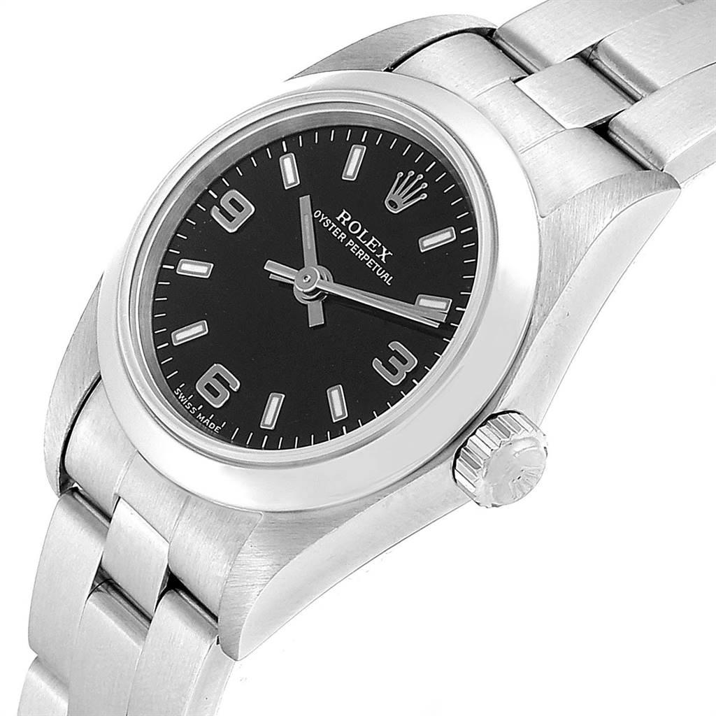 Rolex Oyster Perpetual Black Dial Steel Ladies Watch 76080 SwissWatchExpo