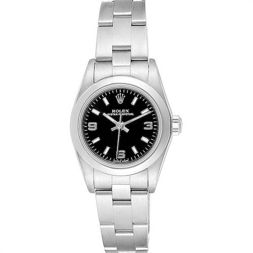 Photo of Rolex Oyster Perpetual Black Dial Steel Ladies Watch 76080