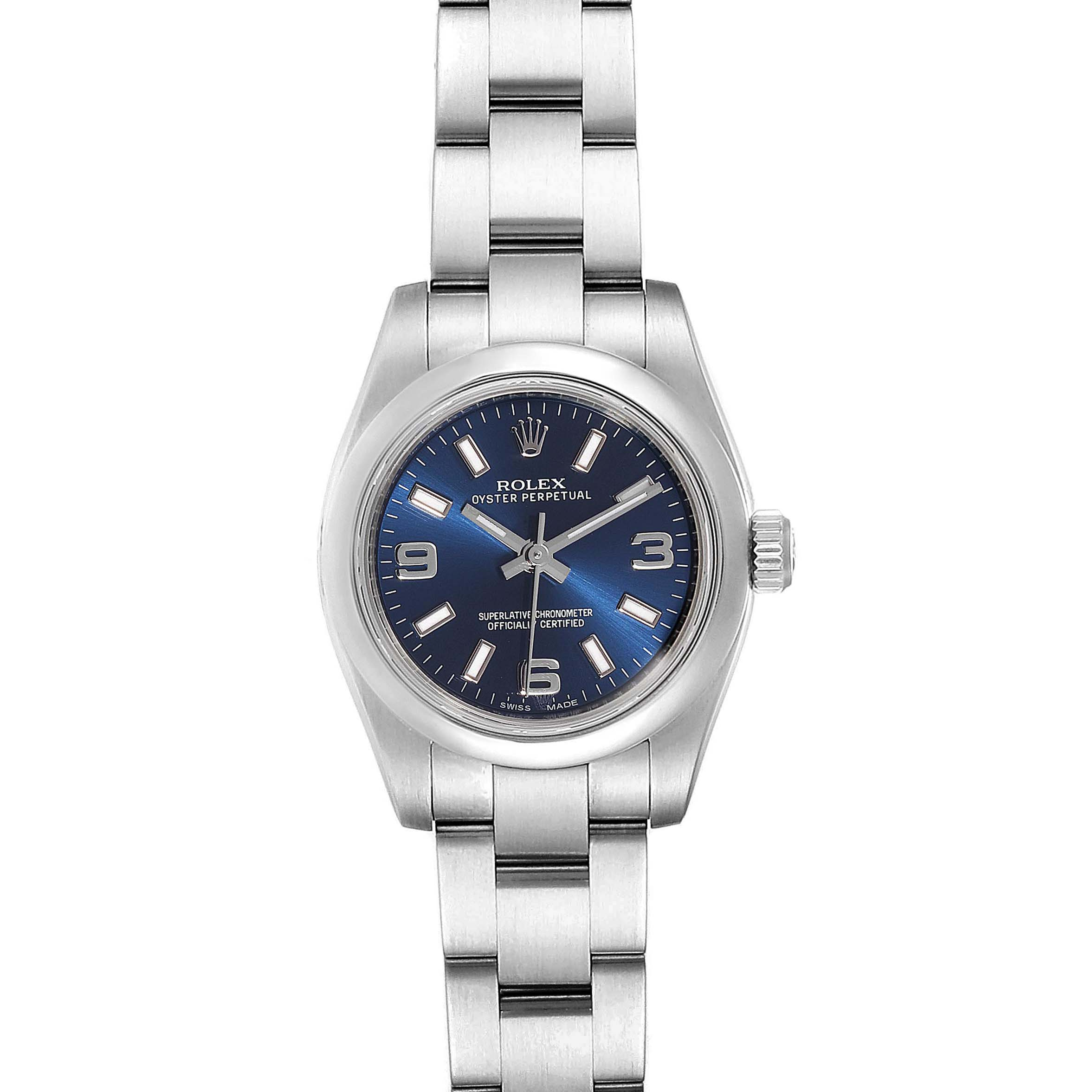 Rolex Oyster Perpetual Nondate Blue Dial Domed Bezel Ladies Watch 176200 SwissWatchExpo