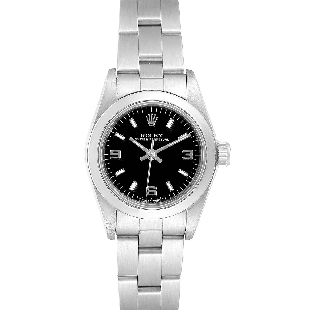 22993 Rolex Oyster Perpetual Nondate Steel Black Dial Ladies Watch 67180 SwissWatchExpo