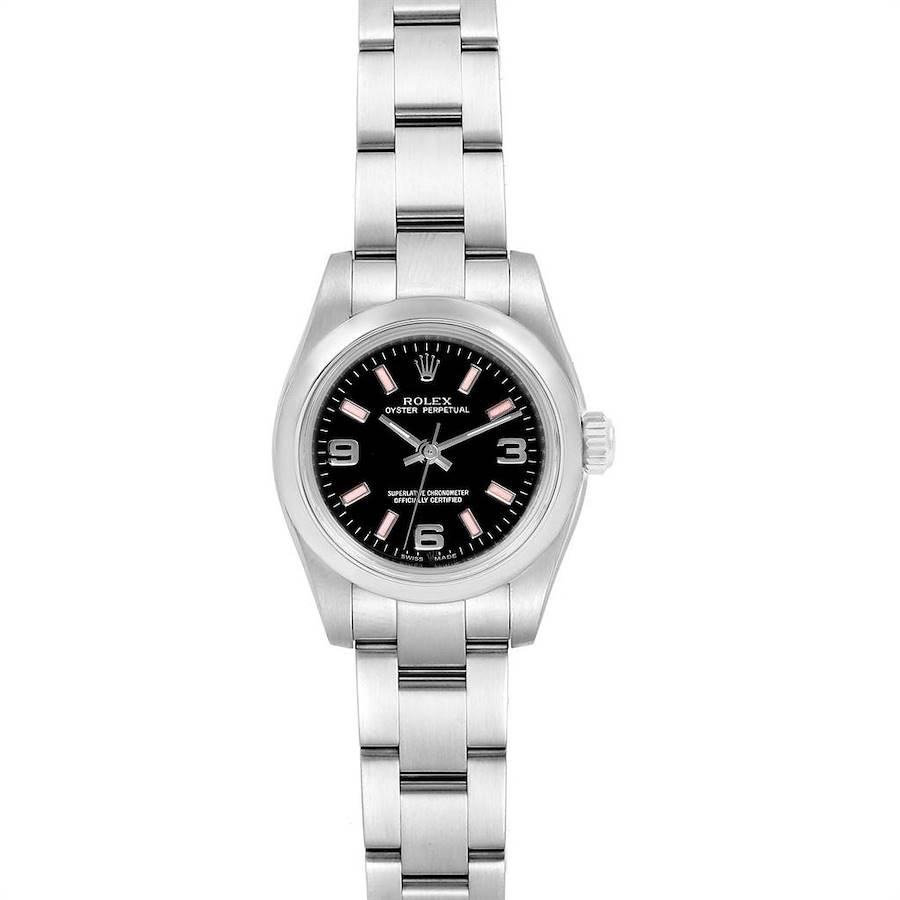 Rolex Nondate Black Dial Pink Hour Markers Ladies Watch 176200 Box SwissWatchExpo