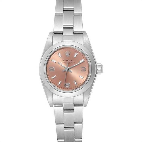 Photo of Rolex Oyster Perpetual Nondate Ladies Steel Salmon Dial Watch 67180