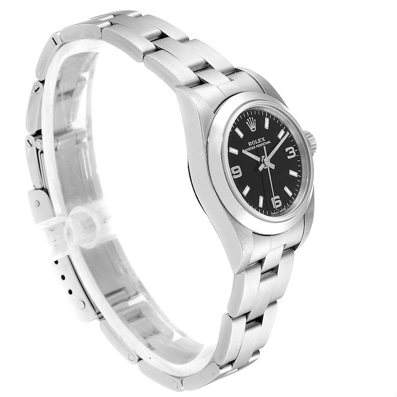 Rolex Non-Date Black Dial Automatic Steel Ladies Watch 76080 Box Papers SwissWatchExpo