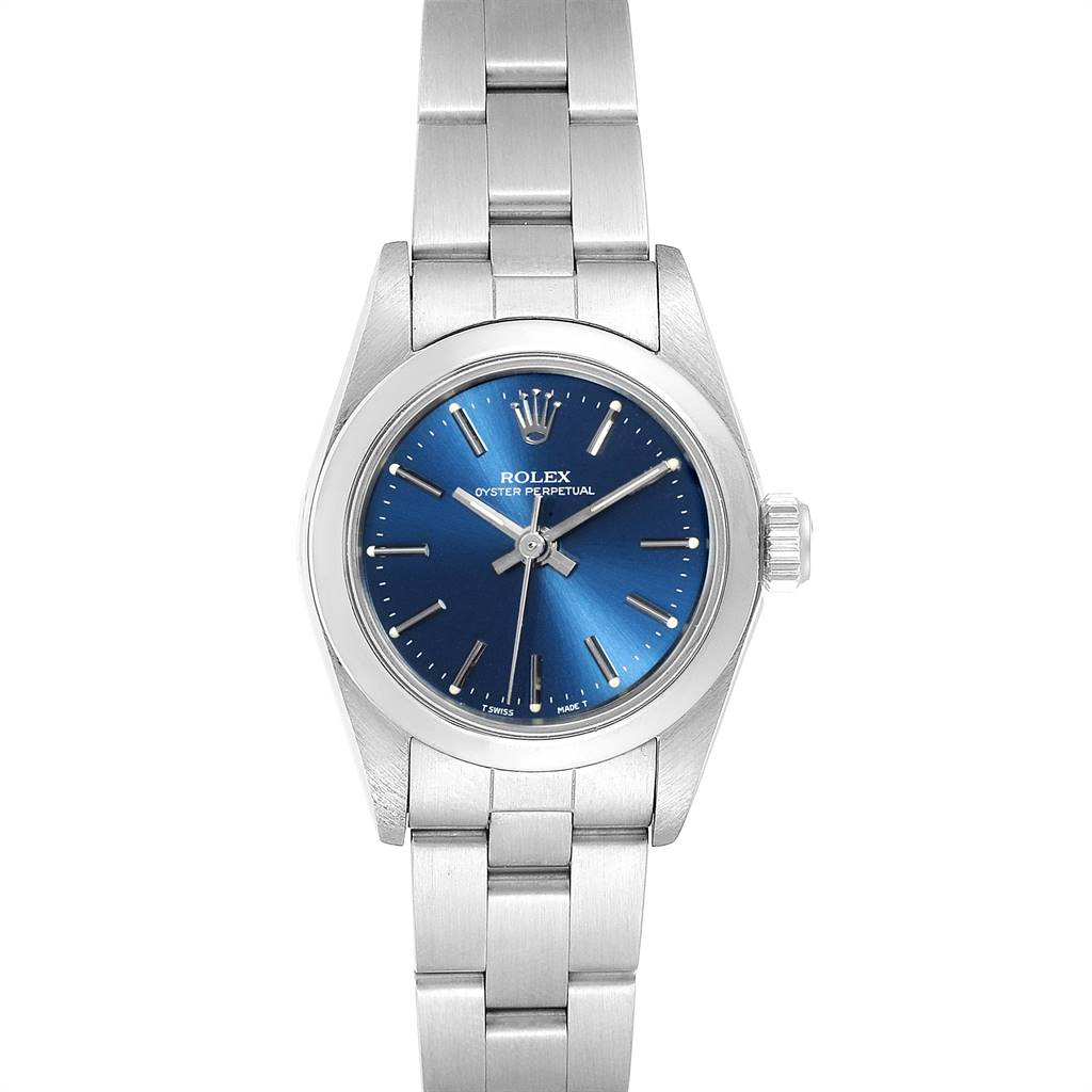 Rolex Oyster Perpetual Nondate Ladies Steel Blue Dial Watch 67180 SwissWatchExpo