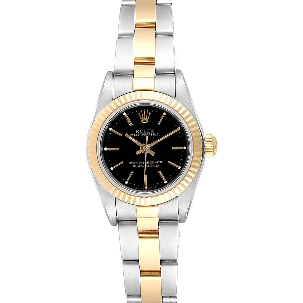 Rolex Oyster Perpetual Black Dial Steel Yellow Gold Ladies Watch 76193 SwissWatchExpo