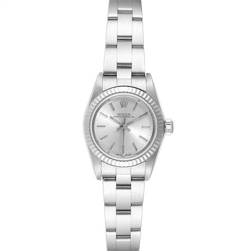 Photo of Rolex Oyster Perpetual Steel White Gold Silver Dial Ladies Watch 76094