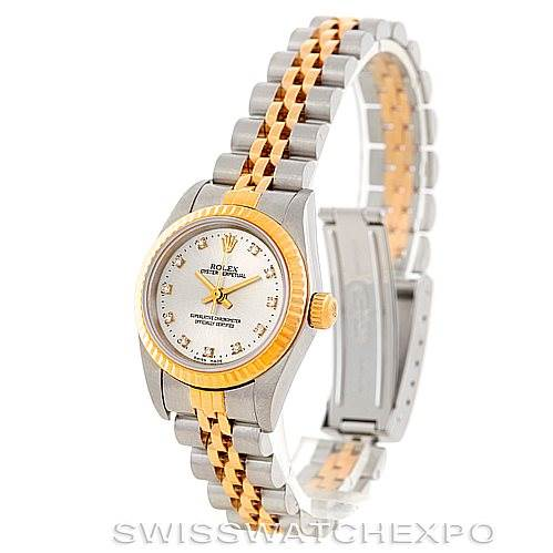 6903 Rolex NonDate Ladies Steel Yellow Gold Diamond Watch 76193 SwissWatchExpo