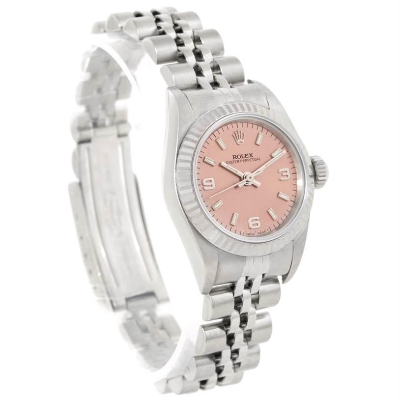 Rolex NonDate Ladies Steel 18k White Gold Salmon Dial Watch 67194 SwissWatchExpo