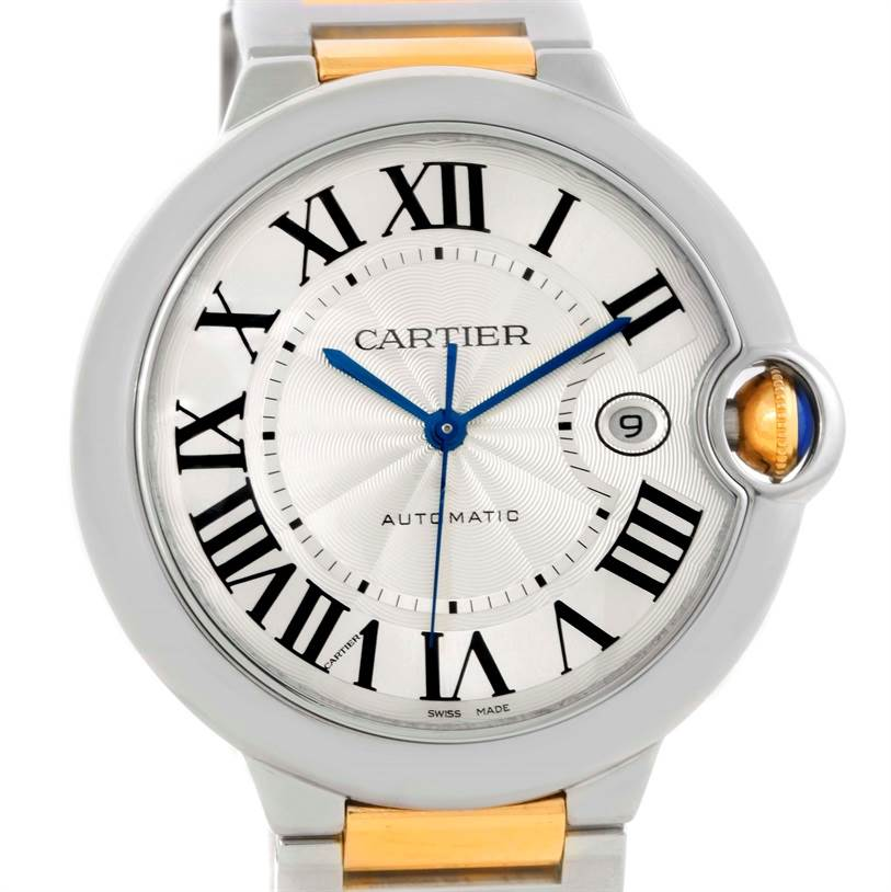 10131 Cartier Ballon Bleu Steel Yellow Gold Automatic Mens Watch W69009Z3 SwissWatchExpo
