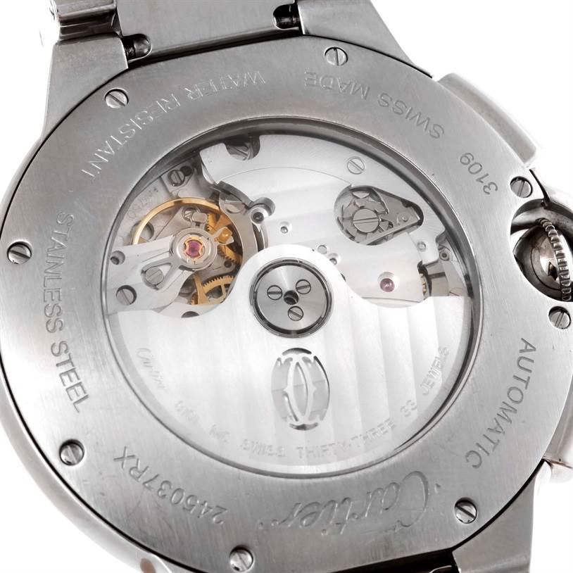 Cartier Ballon Bleu Mens XL Steel Chronograph Watch W6920077 SwissWatchExpo