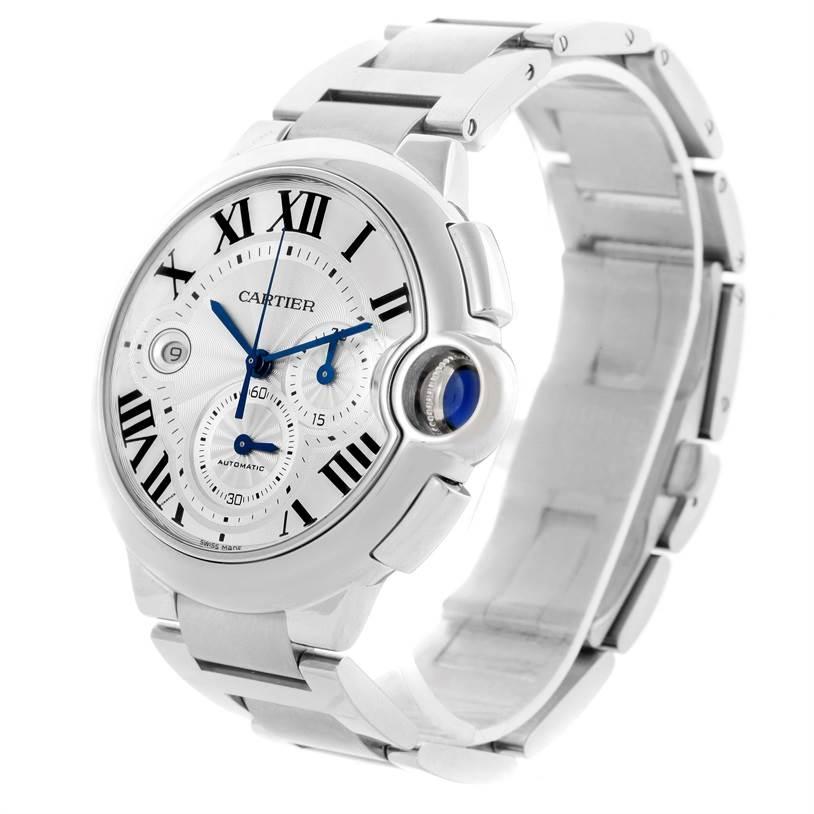 10814 Cartier Ballon Bleu Silver Dial Chronograph Mens Watch W6920002 SwissWatchExpo