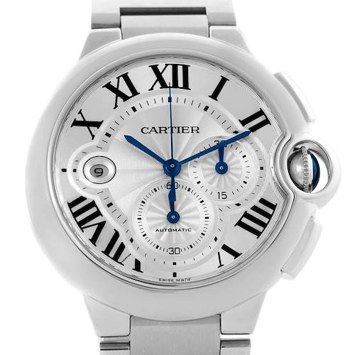 Photo of Cartier Ballon Bleu Silver Dial Chronograph Mens Watch W6920002