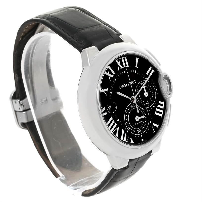 13001 Cartier Ballon Bleu Steel Black Dial Chronograph Mens Watch W6920052 SwissWatchExpo
