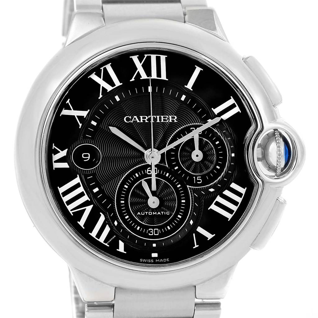 10779A Cartier Ballon Bleu XL Black Dial Chronograph Steel Mens Watch W6920077 SwissWatchExpo