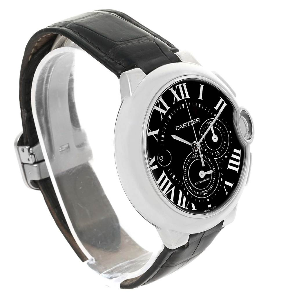14158 Cartier Ballon Bleu Steel Black Dial Chronograph Mens Watch W6920052 SwissWatchExpo