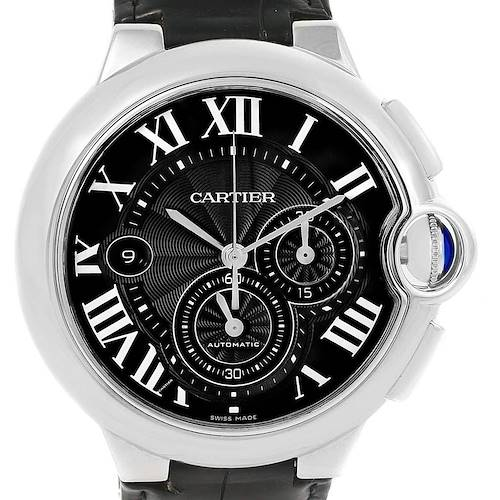 Photo of Cartier Ballon Bleu Steel Black Dial Chronograph Mens Watch W6920052