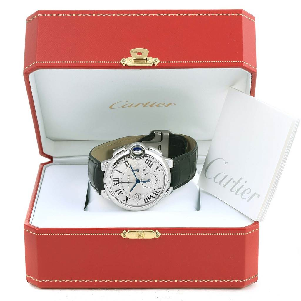 14122 Cartier Ballon Bleu Steel Silver Dial Chronograph Mens Watch W6920003 SwissWatchExpo