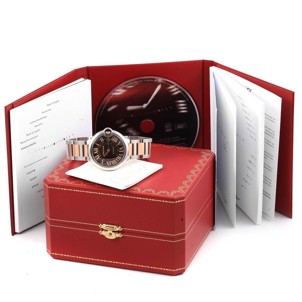 Cartier Ballon Bleu Steel Rose Gold Chocolate Dial Unisex Watch W6920032 SwissWatchExpo