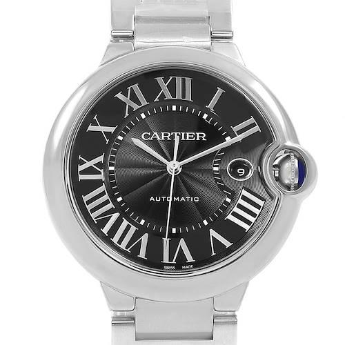 Photo of Cartier Ballon Bleu 42 Black Dial Steel Mens Watch W6920042 Box Papers