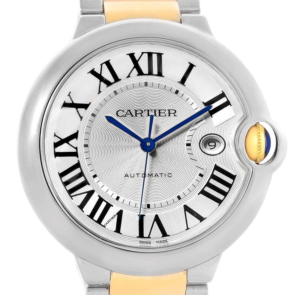 Cartier Ballon Bleu Steel Yellow Gold Mens Watch W69009Z3 Box Papers