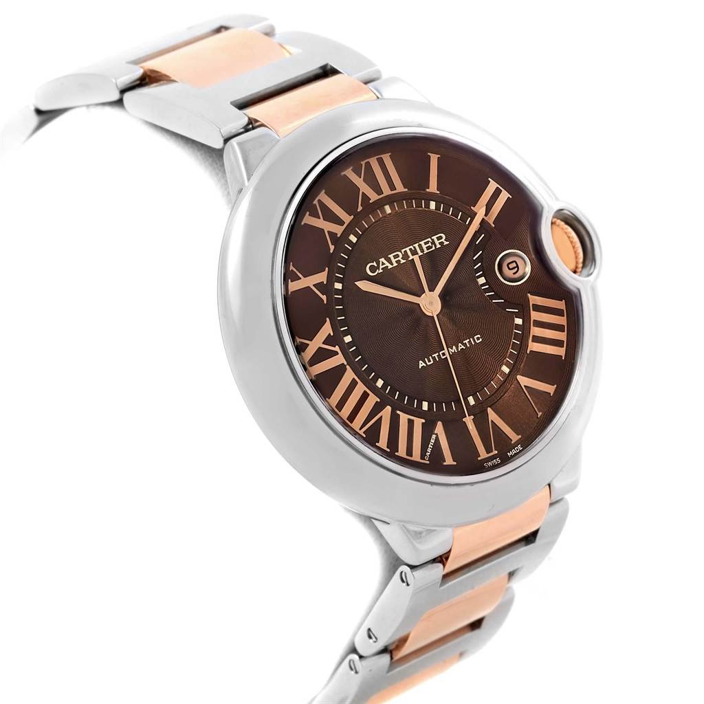 19834 Cartier Ballon Bleu Steel Rose Gold Chocolate Dial Unisex Watch W6920032 SwissWatchExpo