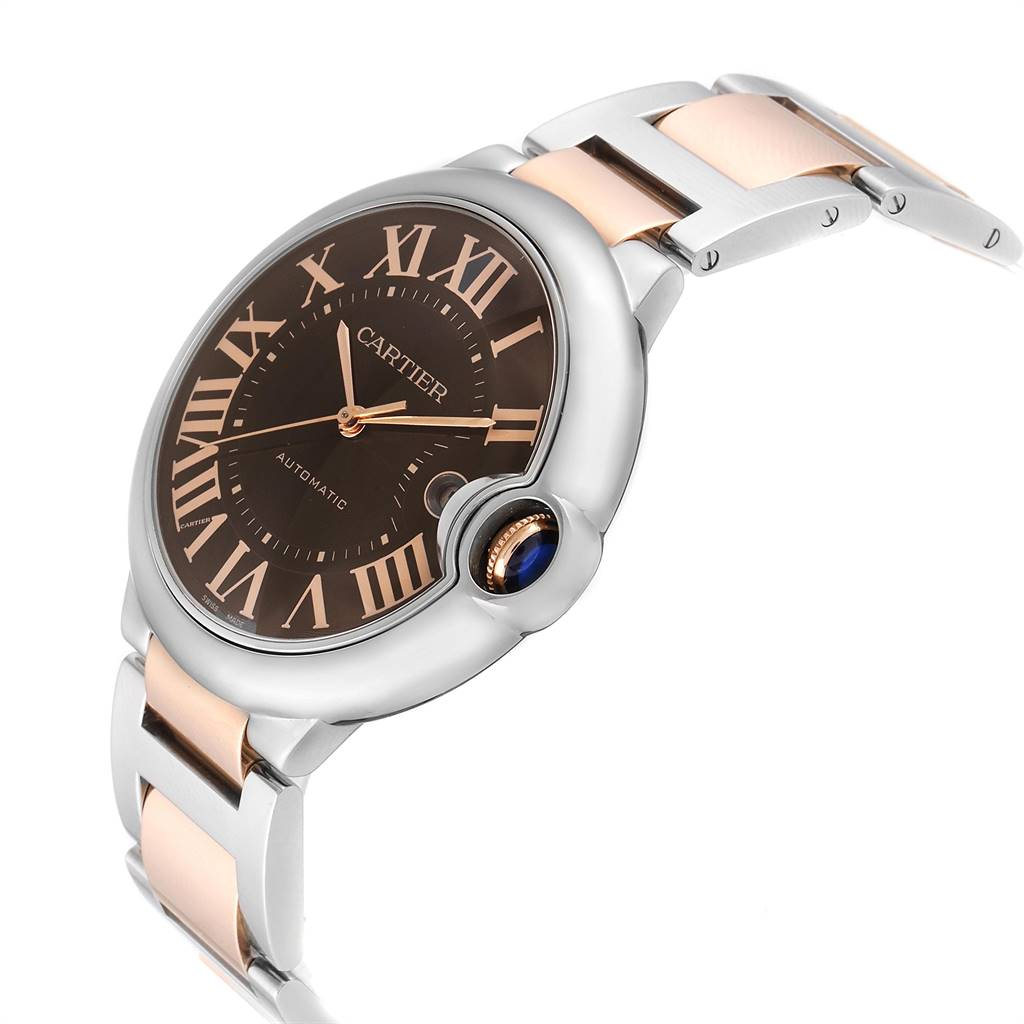 Cartier Ballon Bleu Steel Rose Gold Chocolate Dial Unisex Watch W6920032 SwissWatchExpo