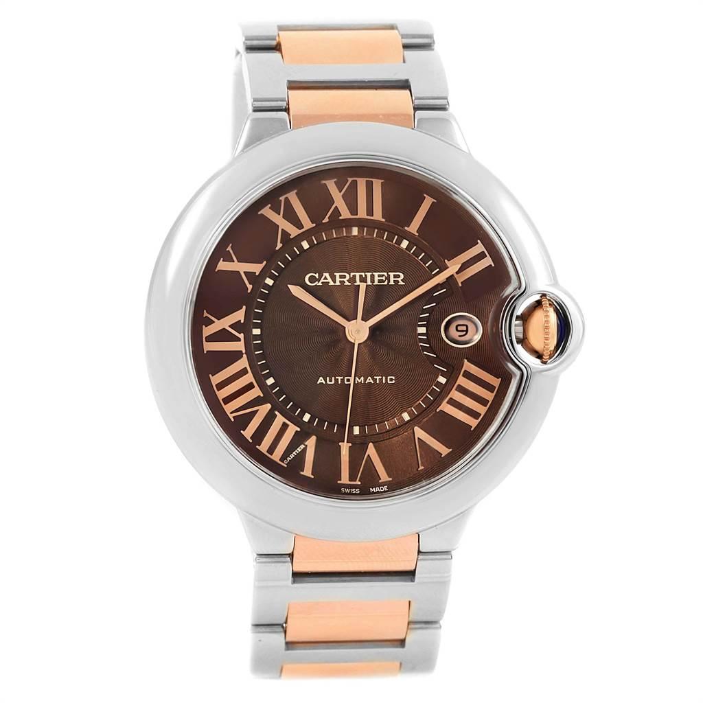 21432 Cartier Ballon Bleu Steel Rose Gold Brown Dial Unisex Watch W6920032      SwissWatchExpo