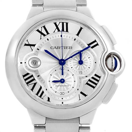 Photo of Cartier Ballon Bleu XL Silver Dial Chronograph Steel Mens Watch W6920002