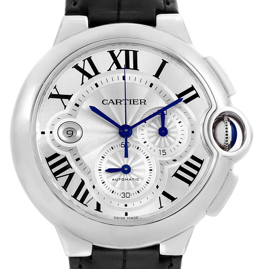 22414 Cartier Ballon Bleu Steel Silver Dial Chronograph Mens Watch W6920003 SwissWatchExpo
