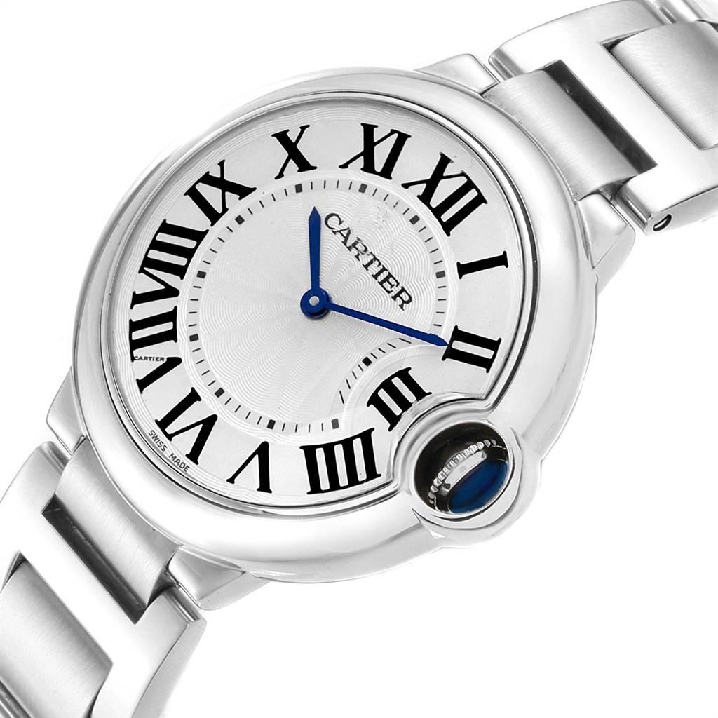 22307 Cartier Ballon Bleu 36 Midsize Silver Guilloche Dial Watch W69011Z4 SwissWatchExpo