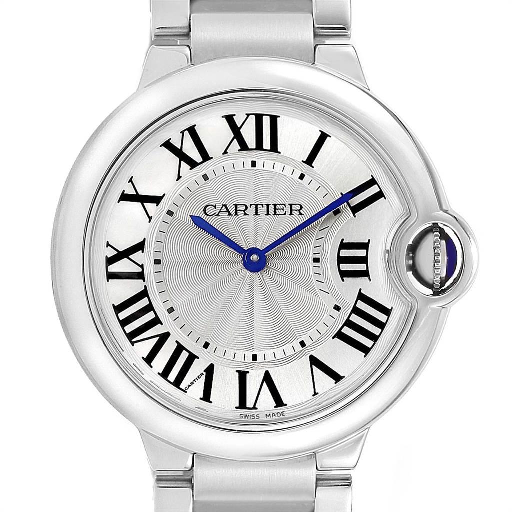Cartier Ballon Bleu 36 Midsize Silver Guilloche Dial Watch W69011Z4 SwissWatchExpo