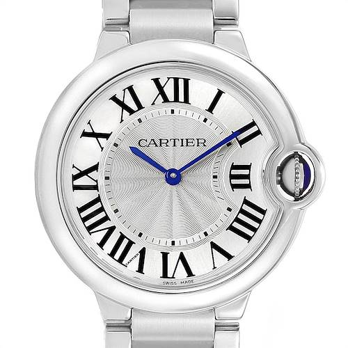 Photo of Cartier Ballon Bleu 36 Midsize Silver Guilloche Dial Watch W69011Z4