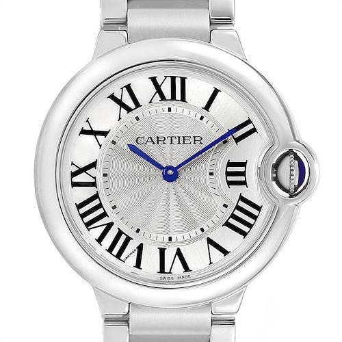 Photo of Cartier Ballon Bleu 36 Midsize Silver Guilloche Dial Watch W69011Z4