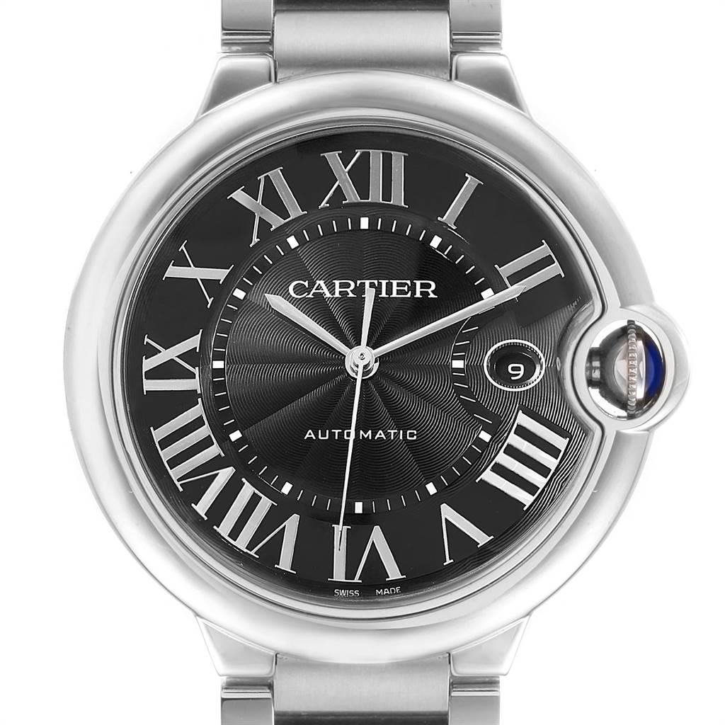 22787 Cartier Ballon Bleu 42 Black Dial Steel Mens Watch W6920042 SwissWatchExpo