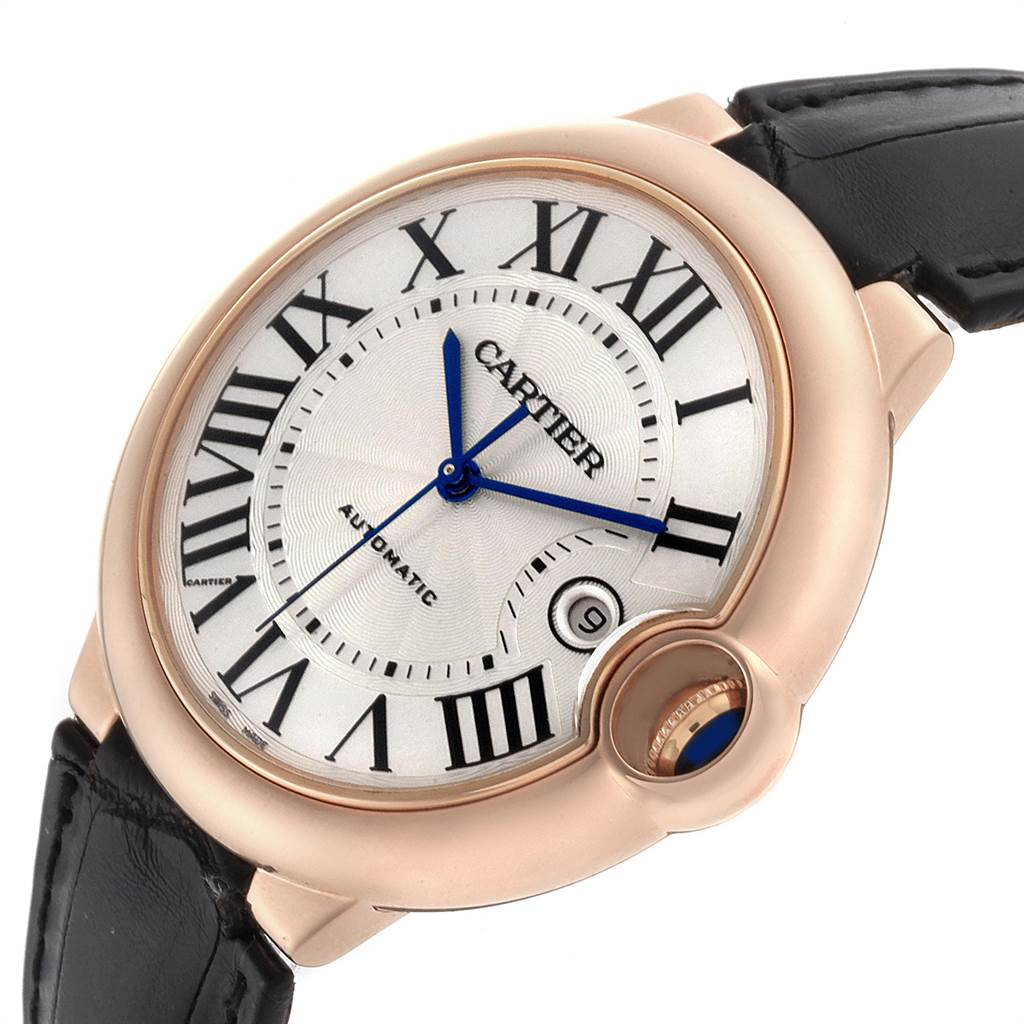 Cartier Ballon Bleu 42 Rose Gold Automatic Mens Watch WGBB0017 Box Papers SwissWatchExpo