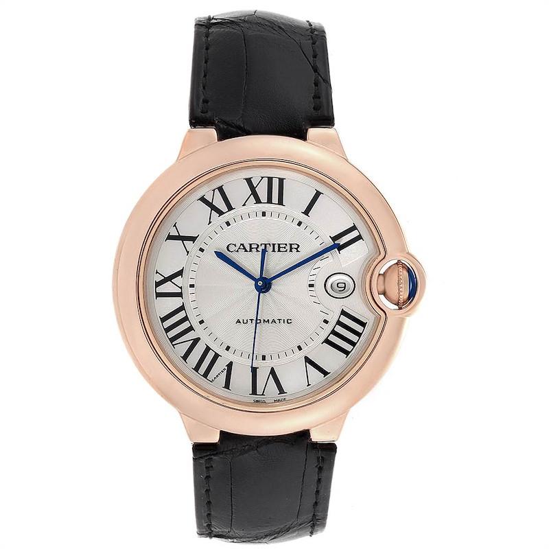 Cartier Ballon Bleu 42 Rose Gold Automatic Mens Watch WGBB0017 Box Papers SwissWatchExpo