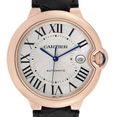 Photo of Cartier Ballon Bleu 42 Rose Gold Automatic Mens Watch WGBB0017 Box Papers