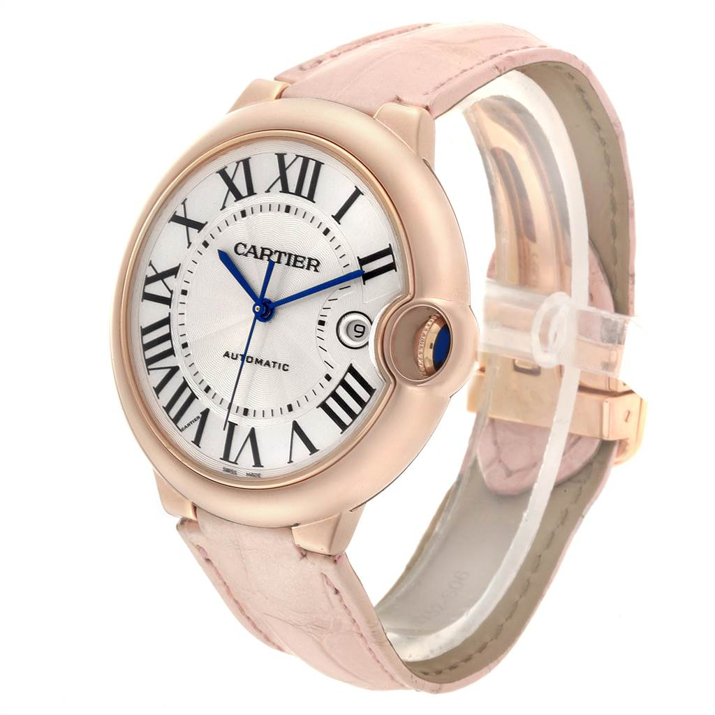 22736 Cartier Ballon Bleu 42 Rose Gold Pink Strap Watch WGBB0017 Box Papers SwissWatchExpo