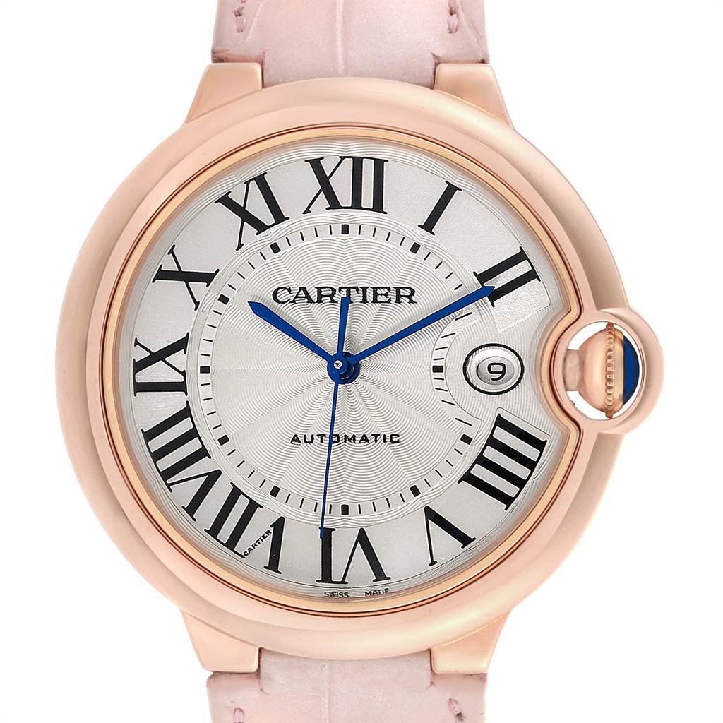 Cartier Ballon Bleu 42 Rose Gold Pink Strap Watch WGBB0017 Box Papers SwissWatchExpo