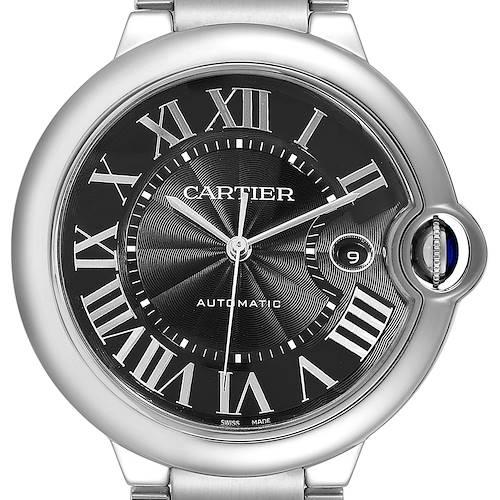 Photo of Cartier Ballon Bleu 42mm Black Guilloche Dial Steel Mens Watch W6920042