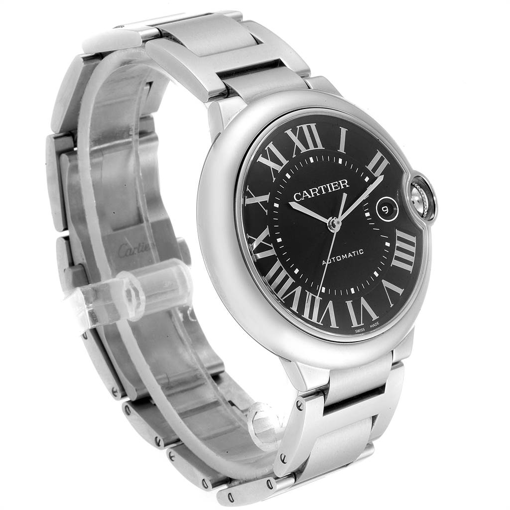 23003 Cartier Ballon Bleu 42mm Black Guilloche Dial Steel Mens Watch W6920042 SwissWatchExpo