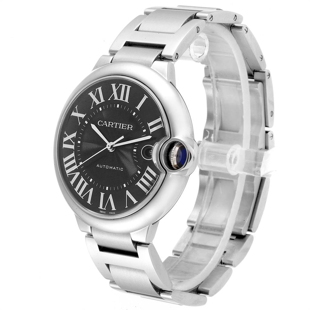 Cartier Ballon Bleu 42mm Black Guilloche Dial Steel Mens Watch W6920042 SwissWatchExpo