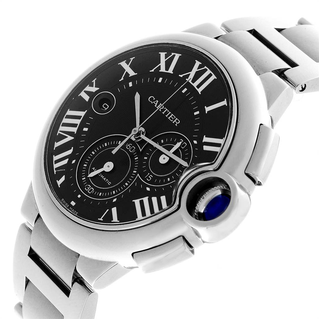 Cartier Ballon Bleu XL Black Dial Chronograph Steel Mens Watch W6920077 SwissWatchExpo